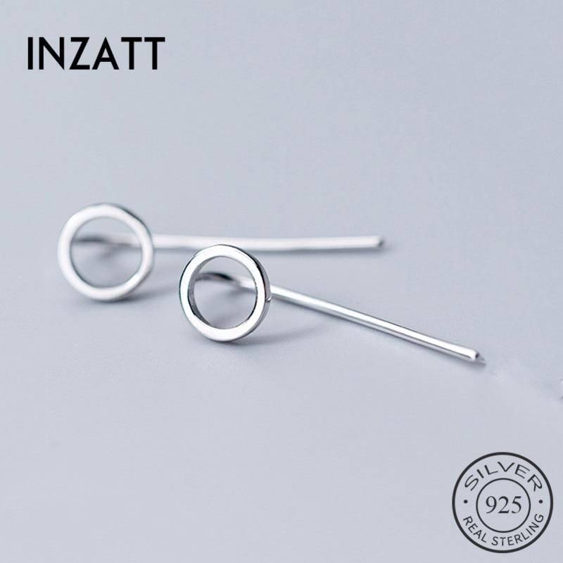 INZATT Real 925 Sterling Silver Minimalist Hollow Round Drop Earrings For Elegant Women Party Fine Jewelry 2019 Accessories