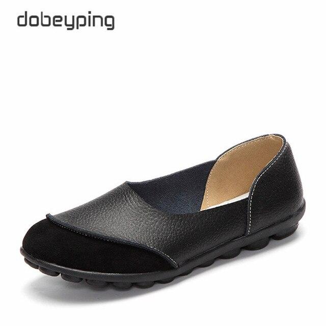 2017 nuevas mujeres ocasionales Zapatos suave Cuero auténtico pisos femeninos antideslizante mujer Mocasines ocio resbalón-en barco más tamaño 35-43