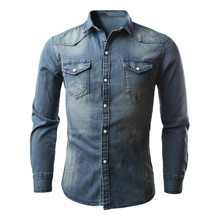 7c6bd726bef CHAMSGEND Men s Retro Denim Shirt Cowboy Blouse Slim Thin Long Tops Drop  Shipping