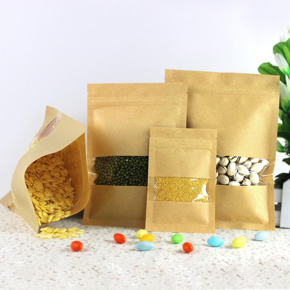 8pcs Lot Heat Seal Stand Up Valve Ziplock Kraft Paper Pack Bags W Frosted Window Biscuit Doypack Zipper Storage Pouch In From Home Garden