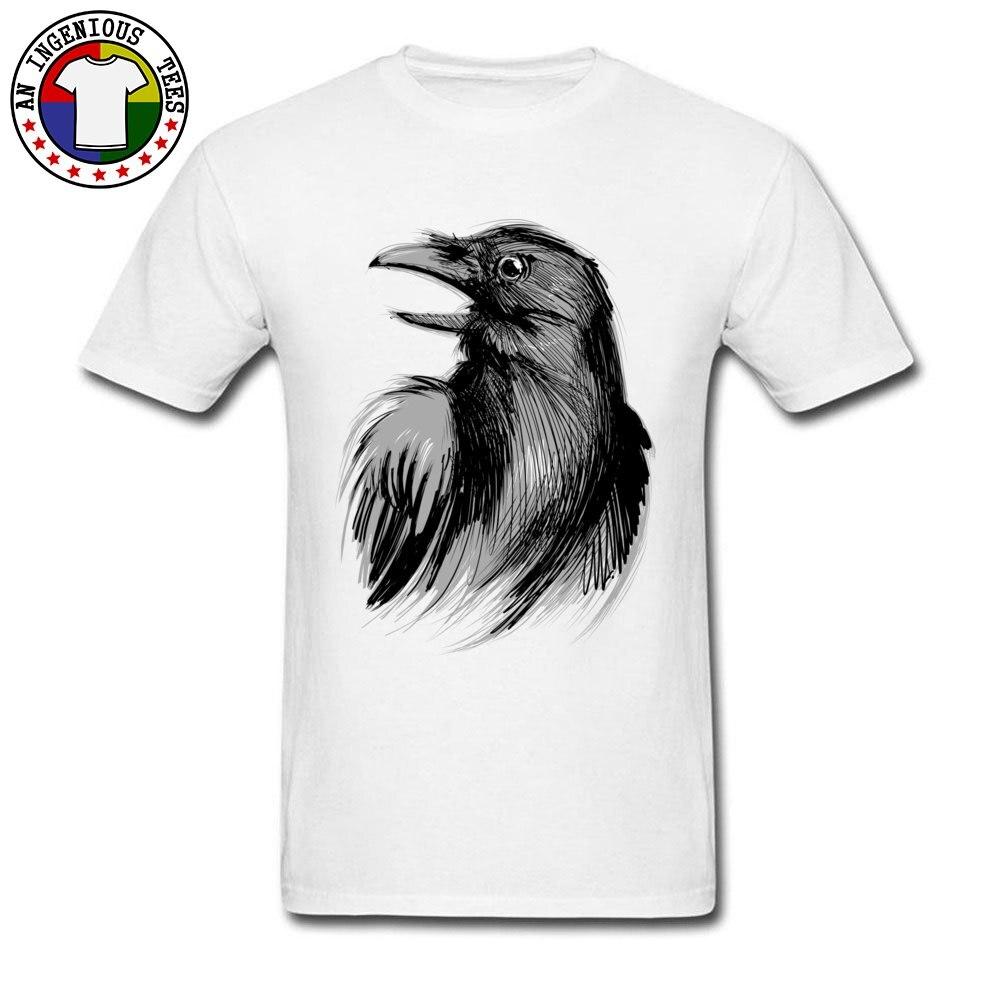 Black Ink Raven Sketching Print Top T-shirts Discount Crew Neck Tops Shirts For Men 100% Cotton Men Funny T-shirts 2018