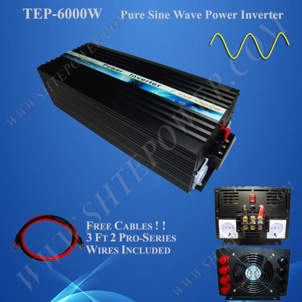 6000W 12V/24VDC to 100V/110V/120V/220V/230V/240VAC Pure Sine Wave Solar/Home Inverter 6kw