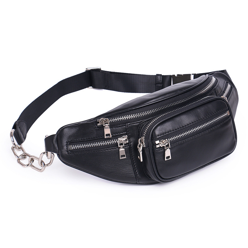 High Quality Fashion PU Chain Waist Bag Bananka Travel Leisure Fanny Pack Men And Women Walking Mountaineering Belly Band quality leopard stitching velvet sheepskin chain waist bag bananka travel leisure fanny pack women walking belly band belt bag