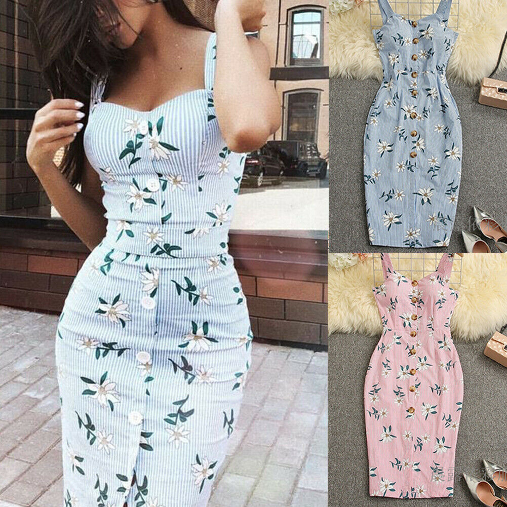 Fashion Women Sleeveless Button Bodycon Floral Sundress Summer Midi Dress Female Party Club Spaghetti Dresses Outfits
