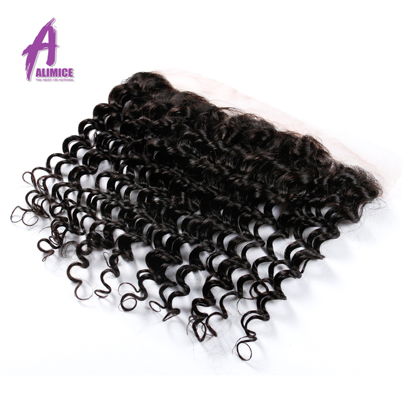 ALIMICE Hair Brazilian Deep Wave Human Hair 3 Bundles With Ear to Ear Closure Deep Curly 13x4 Lace Frontal Closure With Bundles  (22)