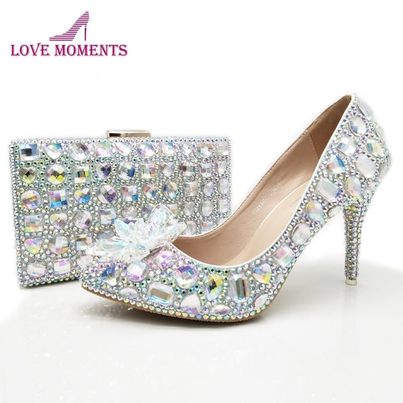 Beautiful High Heel Wedding Shoes AB Crystal Spring Bridal