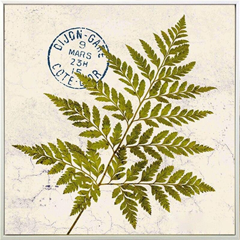 HAOCHU Triptych Europe Letter Postmark Vintage Green Leaves Nordic ...