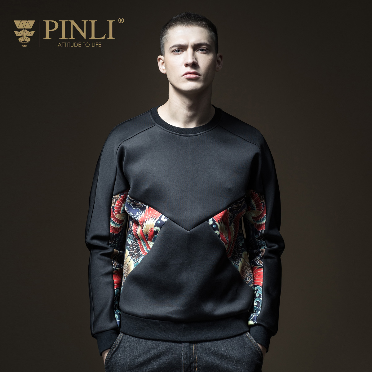 PINLI product made 2018 spring new men's cultivate morality round collar printing head fleece B181109080
