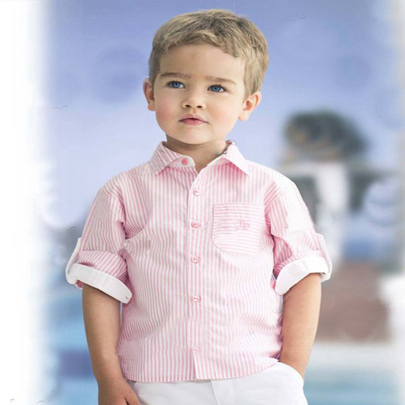 Pink Stripes Roll-up Sleeve Shirt + White Shorts Summer Kids Clothes Boys Two Piece Set Children Clothing Roupas Infantis Menino