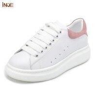 INOE обувь женская модные туфли на плоской подошве из натуральной коровьей кожи Повседневная весна-осень кроссовки обувь для женщин на шнуро...