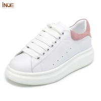 INOE fashion flats genuine cow leather casual spring sneakers shoes for women lace up autumn leisure shoes black white red 35 44