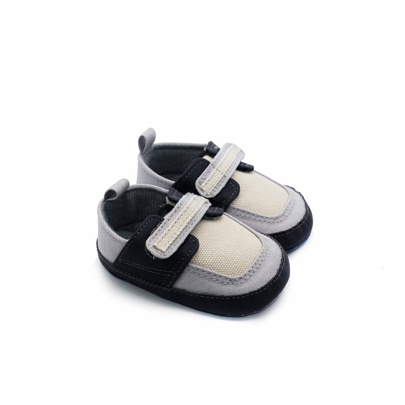 New Grey Buckle Strap Baby Boy Shoes Breathable Canvas Soft Bottom Little Boys Casual Sh ...