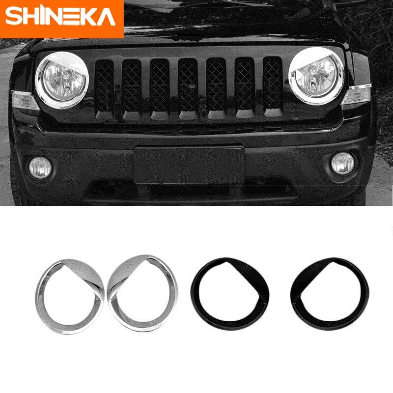 Shineka Chroom Styling Abs Auto Exterieur Hoofd Licht Lamp Decoratie Afdekprofiel Stickers Voor Jeep Patriot 2011-2016 Accessoires