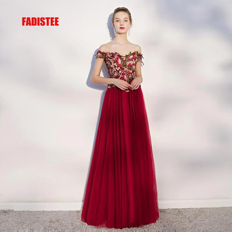 FADISTEE New arrival modern party   dress     evening     dresses   prom soft tulle elegant pattern A-line lace Burgundy long style frock