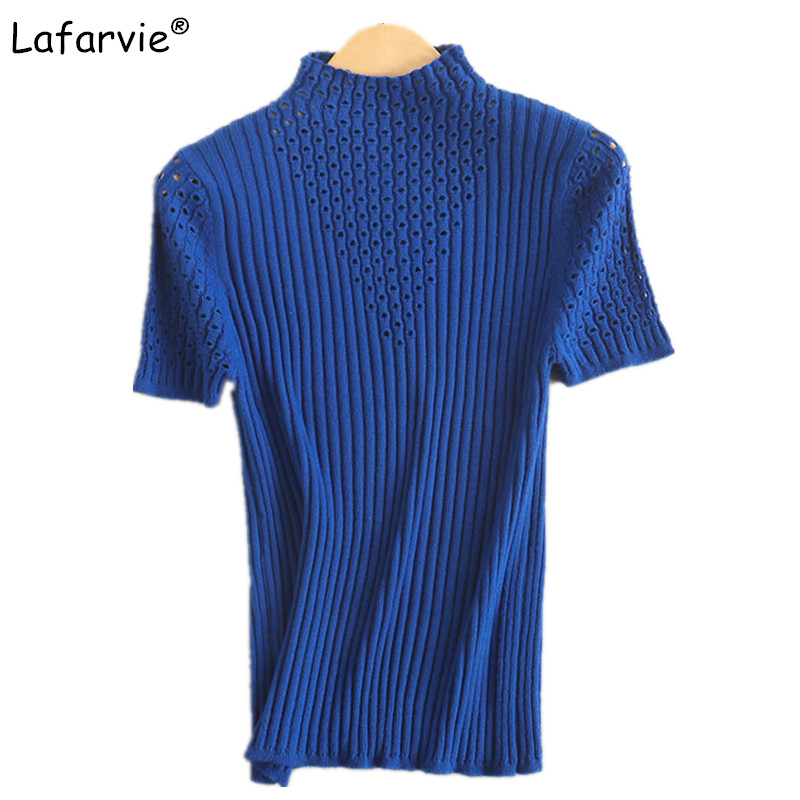 Lafarvie Spring Summer Slim Hollow Out Knitted Cashmere Sweater Women Short Sleeve Half Turtleneck Pullover Bottoming T-shirt