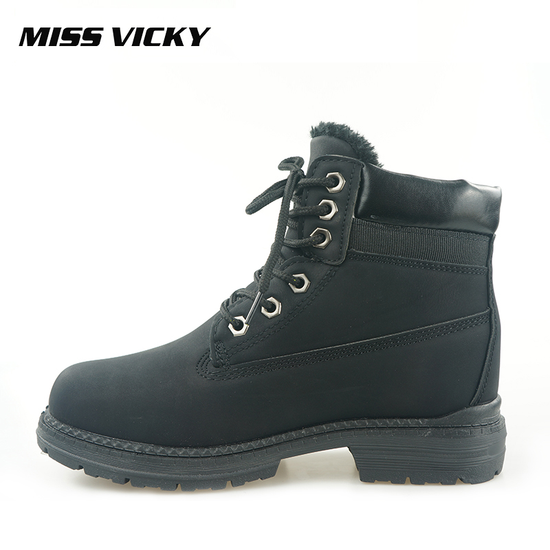 MISS VICKY New Genuine Martin Boots Plush Women's Boots Cold Protection Fashion 3 Colors Ankle Motorcycle Boots