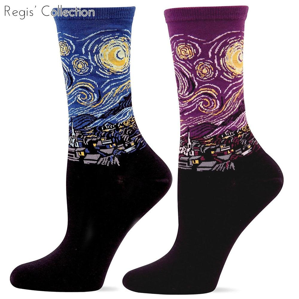 Men / Male Vincent van Gogh The Starry Night Great Wave Klimt Kiss Edvard Munch Scream Picasso Old Guitarist Art Crew Sock