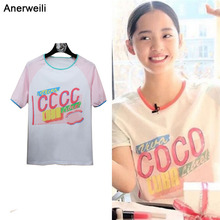 2018 Top Selling COCO Fight Color Tees Short Sleeved O-Neck star The Same Paragraph Women's Casual T-shirt Cotton