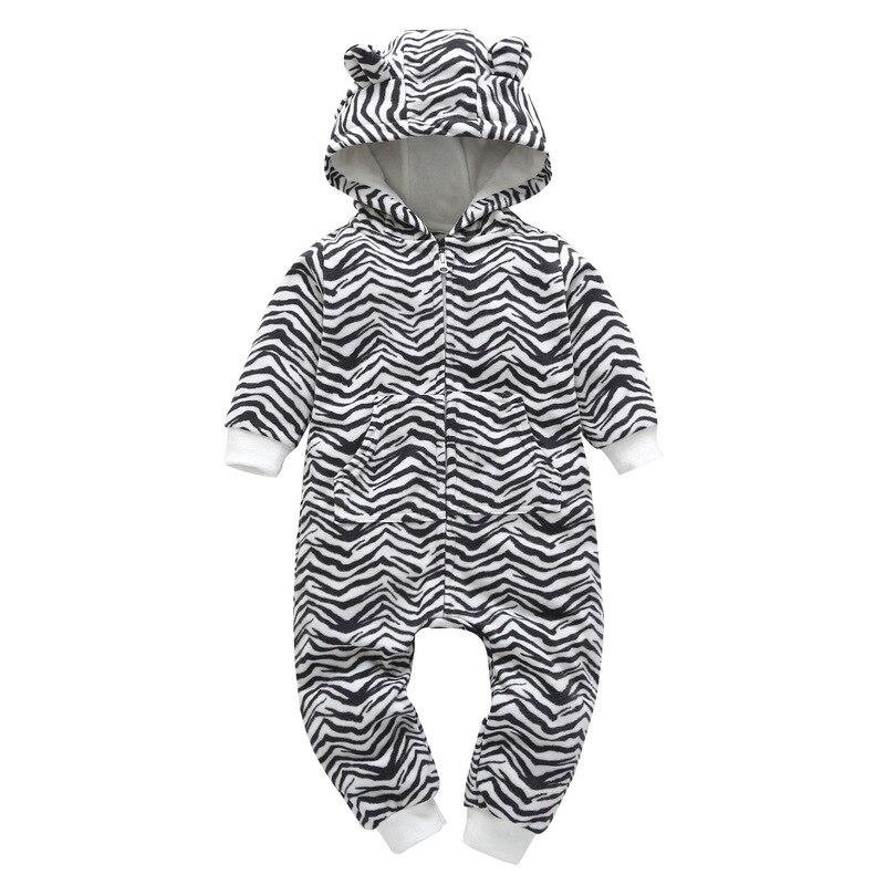 Brand Baby Girls Boys Rompers 2018 Autumn Winter Bebe Jumpsuit Cartoon Hooded Fleece Costumes Newborn Babies Warm Clothes