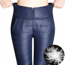 Warm Pants Women 2018 Winter High Waisted Outer Wear female Fashion Slim Thick Down Trousers For skinny