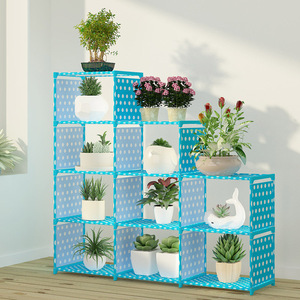 Image 5 - Multi layer Storage Shelf Stainless steel nonwovens bookshelf Simple Assembly can be removed Bedroom Flower pot rack