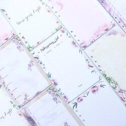 Teste padrão de flor dos desenhos animados 6 Domikee furos de recarga de papéis para fichário caderno espiral interna: em branco, planejador semanal, lista de compras A5A6