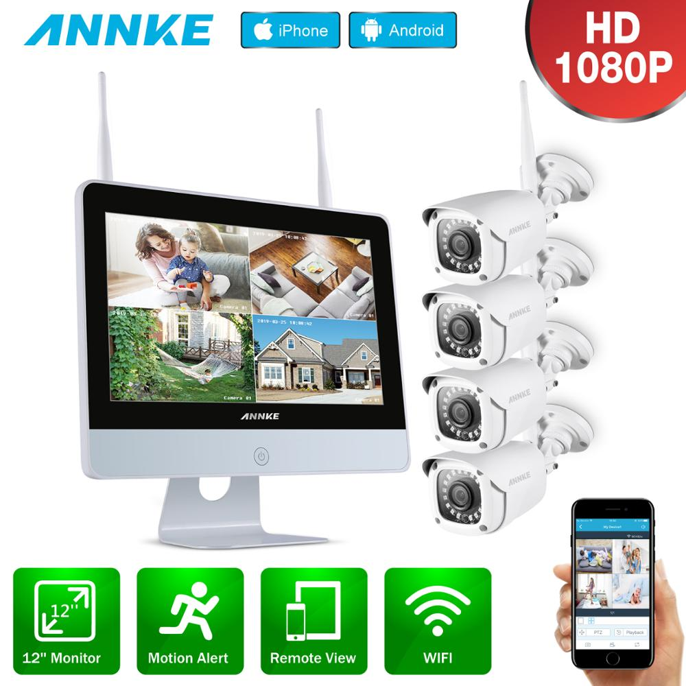 ANNKE 8CH 1080P FHD Wireless Video Security System 12inch LCD Screen NVR 4PCS 2MP Bullet IP Camera Outdoor CCTV Surveillance Kit