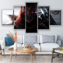 Home Decoration Living Room 5 Piece League Of Legends Zed Painting Canvas HD Printed Game Poster Wall Art Modular Picture Framed