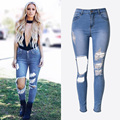 2017 New Women  Jeans Slim Hole Irregular Elastic Personality Washed Denim Pants Feet Size Red Street Jeans Pant Plus Size