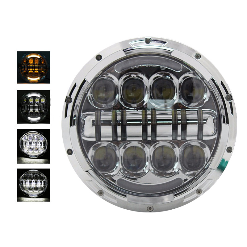 FADUIES Chrome 7 Inch Round Headlight LED 80W With Amber Signal Halo Angle Eyes H4 To H13 Adapter For Harley Motorcycle