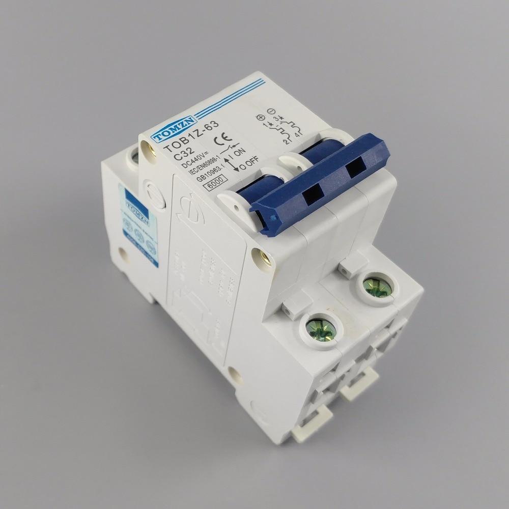2P 32A DC 440V Circuit breaker MCB C curve 2p 10a dc 440v circuit breaker mcb