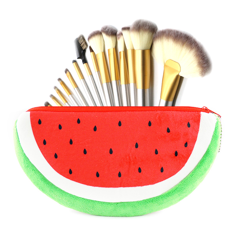 XYDYY Women Cosmetic Bag Eyebrow Pencil Plush Cosmetic Bag Watermelon Makeup Organizer Pouch Bag Travel Necessary Beauty Case 2016 watermelon plush key coin wallet purse cosmetic makeup pouch phone pencil pen bag carteira 9ij3