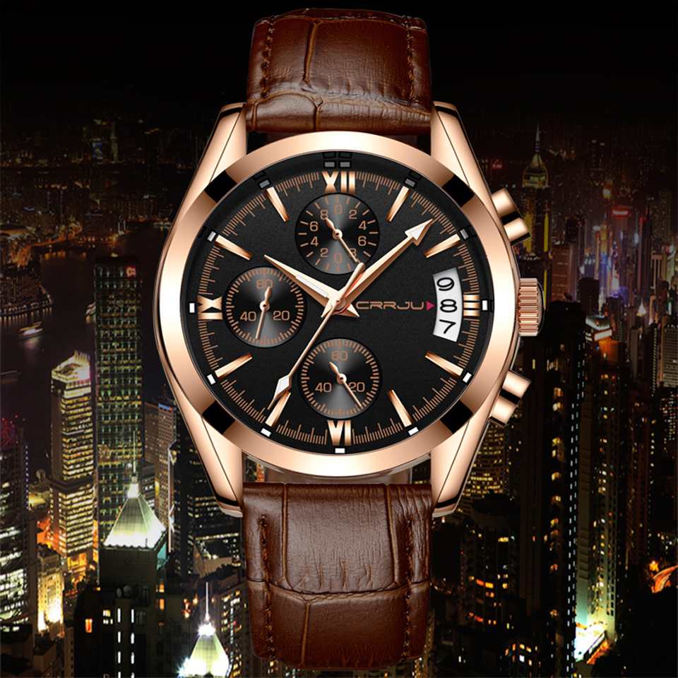 CRRJU Mens Chronograp Sport Relojes Luxury Quartz Gold Watch Hombres - Relojes para hombres - foto 6