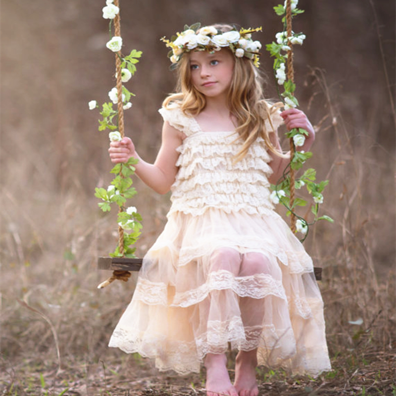 Children Girl Clothes Ivory Lace Ruffle Tulle Chiffon Toddler Princess Girls Birthday Party Dress Flower Girl Dress Vestidos girls dress lace to chiffon blooming flower tied waist 7 14