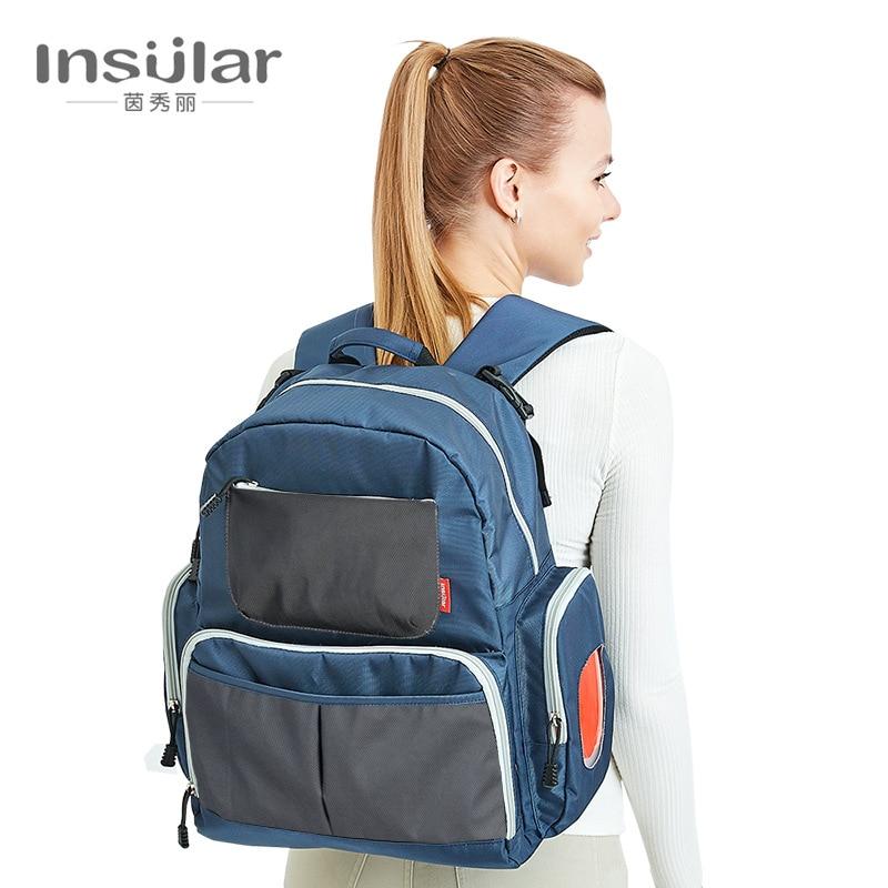 Insulaires grande capacité sac de maternité couche de bébé sac à langer maman sac de soins infirmiers poussette organisateur bébé nappy sacs à dos pour la maman