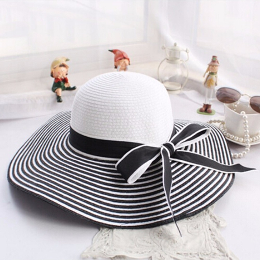 35c3d8d9c05a6d ... Hot Sale Fashion Hepburn Wind Black White Striped Bowknot Summer Sun  Hat Beautiful Women Straw Beach Hat Large Brimmed Hat. 28% Off. 🔍 Previous