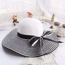 Горячие Продажи Моды Хепберн Ветер Черный Белый Полосатый Бантом Летнее Солнце Шляпа Красивых Женщин Соломы Пляж Шляпа Большой Шляпе