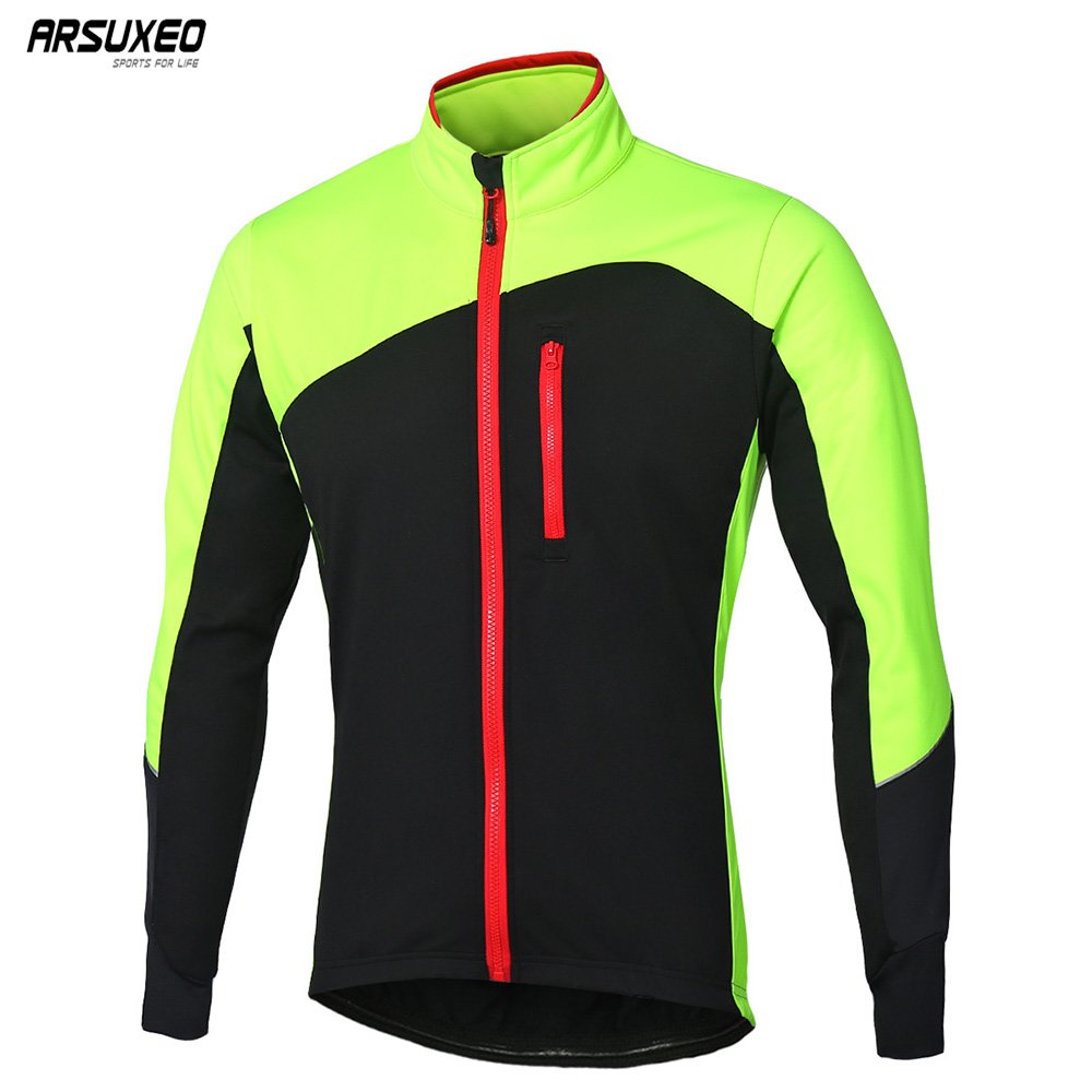 ARSUXEO 2018 Cycling Jacket Winter Thermal Fleece Warm Up MTB Bike Jacket Windproof Waterproof Reflective Cycling Coat 17D цена