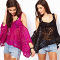 Blusas Femininas 2016 Women Embroidery Crochet Lace Long Sleeve Hollow Floral T-shirt Casual Solid Sexy  Shirt Lace  Tops