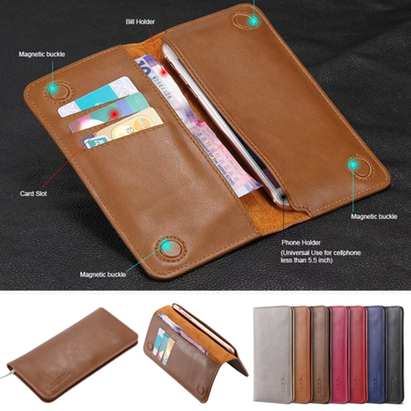 FLOVEME Original Leather Wallet Case Cover For Apple iphone 7 6 6S Plus For Samsung S8 S7 S6 edge For Xiaomi Cash Slot Pouch Bag