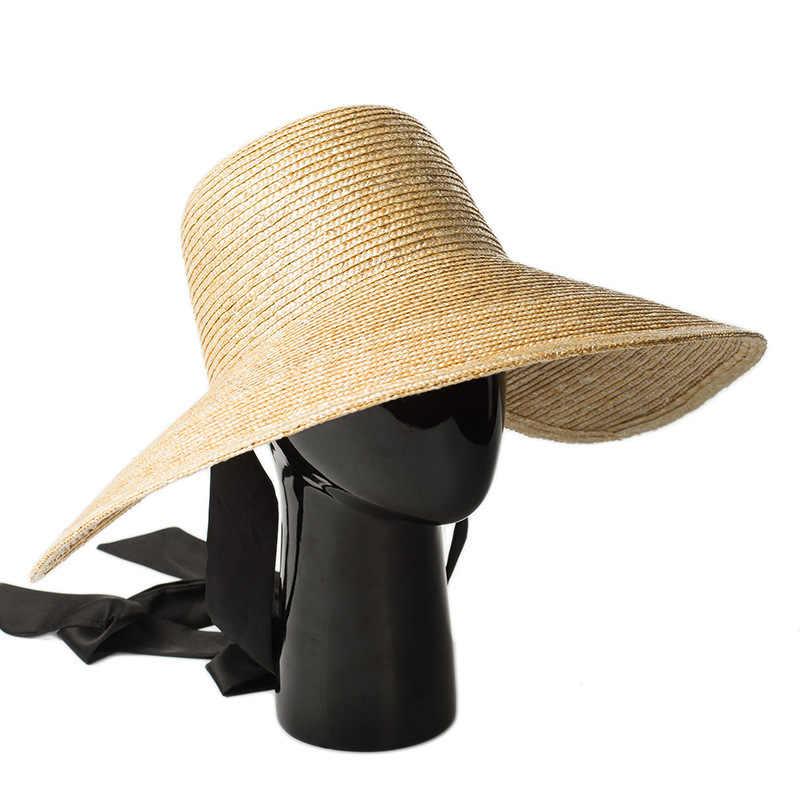 544551b9 ... Wide Brim Hat Women Summer Vintage Sun Hat with Ribbon Ties 2018 Beach  Straw Bucket Hatsfor