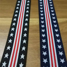 Elastic Webbing 4cm Width American style Spandex Polyester Pentagram Red strip Design wholesale 40yards