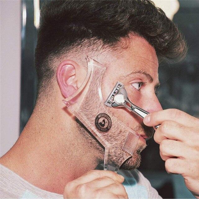 Novo Modelo de Barba do Dobro-lado Shaping Styling ABS Homens Barbear Ferramentas para o Cabelo Barba Barba Pente Guarnição Modelo Rosto ferramenta de beleza