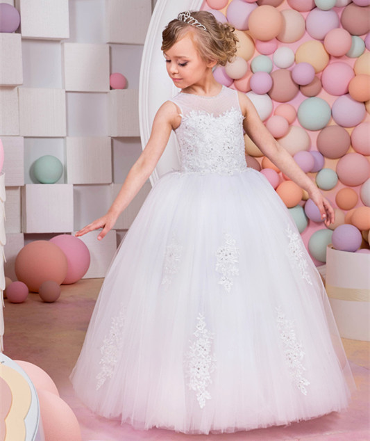 Flower Girl Dresses for Weddings Lace Appliques Ball Gown Sleeveless O-neck Lace Up First Communion Dresses