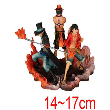 New 3pcs/lot One Piece Luffy and Brother Ace Sabo DFX Action Figure Toys 17CM Pvc Cartoon Doll Toys for Children Christmas Gifts