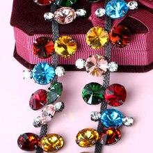 1Yard Gun Black Rhinestone Trim Crystal Applique Wedding Diamante Beaded Motif Sewing DIY Crafts