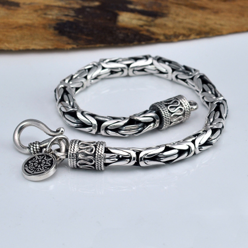 Real Pure 925 Sterling Silver Bracelet Men Link Chain Peace Lines Corsair Best Gifts Vintage Punk