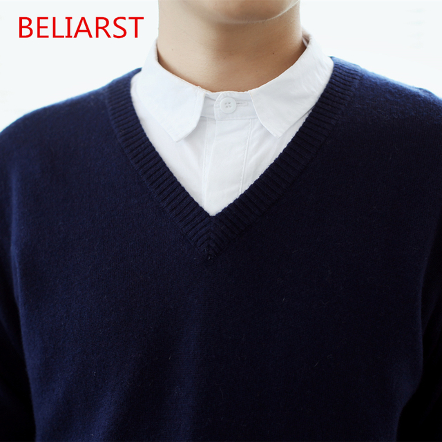 BELIARST The New V-Neck Cashmere Sweater Men's Sweater Male Korean Slim Bottoming Knit Long-Sleeved Spring Genuine Free Shipping