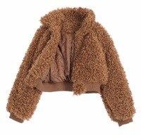 Faux Fur Jacket Coatwarm Thick Oversized Lambswool Jacket Coat Camel Color Women Outerwear Winter 2017 Fashion