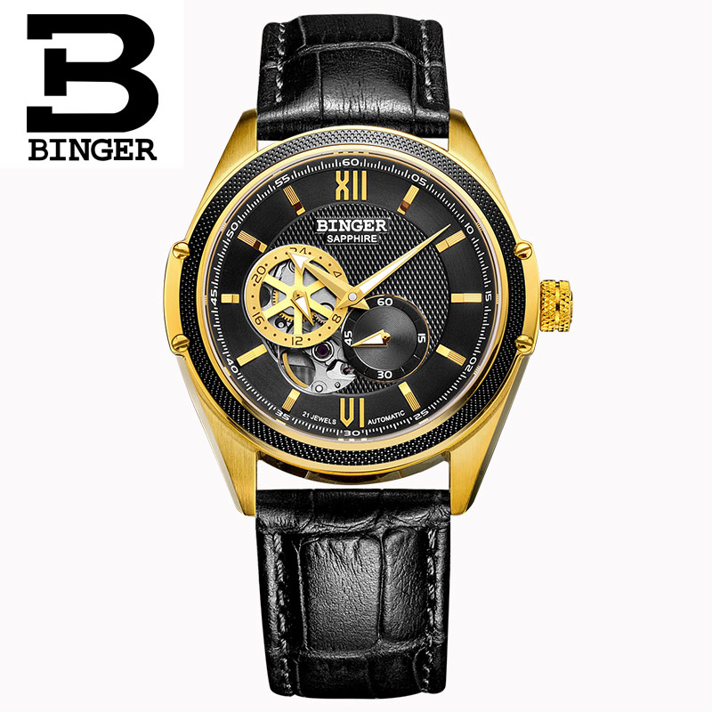 Switzerland Binger Watch Men Luxury Brand Miyota Automatic Mechanical Movement Watches Sapphire Waterproof reloj hombre B-1165-5 switzerland mechanical men watches binger luxury brand skeleton wrist waterproof watch men sapphire male reloj hombre b1175g 3